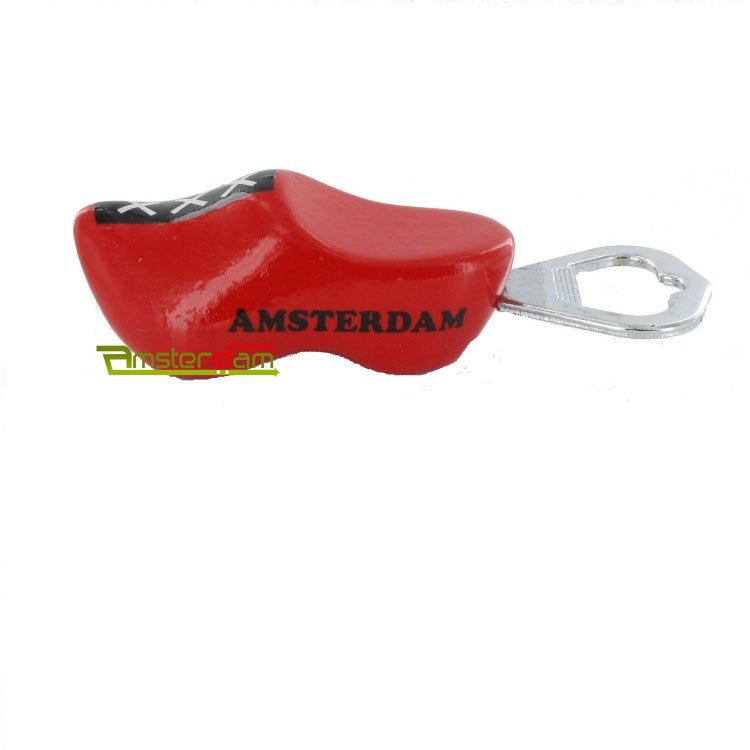 BOTTLE OPENER WOODEN SHOE RED XXX