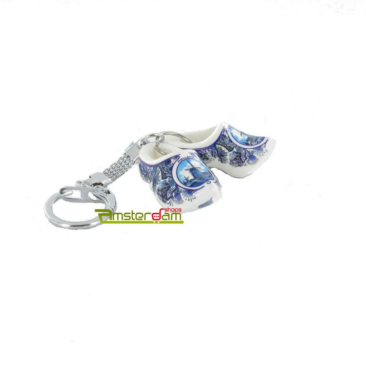 KEYCHAIN 2 WOODEN SHOES 4 CM DELFT BLUE MILL