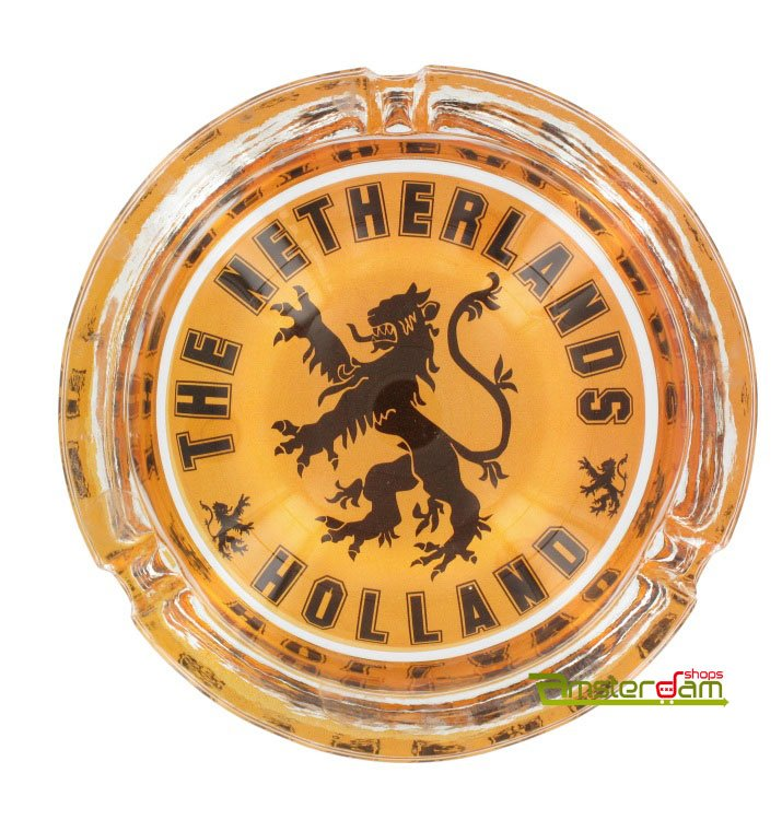 Ashtray Orange with the lion of the Netherlands